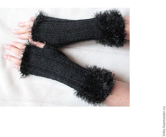 Варежки, митенки, перчатки ручной работы. Ярмарка Мастеров - ручная работа. Купить Перчатки без пальцев, митенки, черные подогреватели. Handmade.