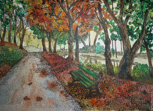 Пейзаж ручной работы. Ярмарка Мастеров - ручная работа. Купить Осенний парк. Handmade. Оранжевый, акварель, тушь, акварель, тушь