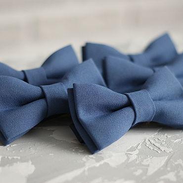 Аксессуары ручной работы. Ярмарка Мастеров - ручная работа Галстук-бабочка серо-голубая. Handmade.