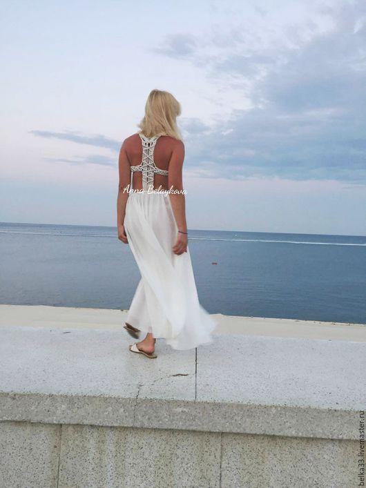 Платья ручной работы. Ярмарка Мастеров - ручная работа. Купить Плетеное платье макраме.. Handmade. Белый, Макраме, белое платье