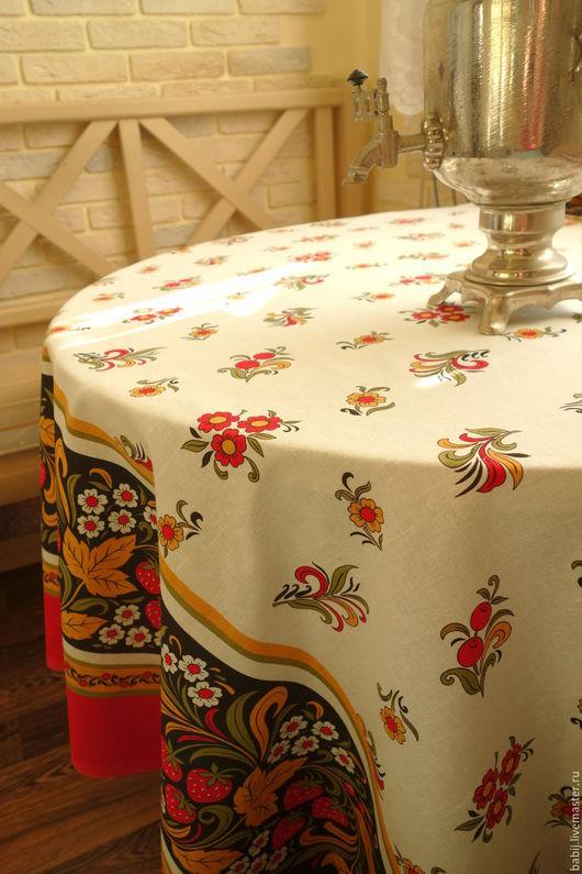 """Текстиль, ковры ручной работы. Ярмарка Мастеров - ручная работа. Купить Скатерть """"Клубника"""" льняная. Handmade. Скатерть, льняные ткани"""