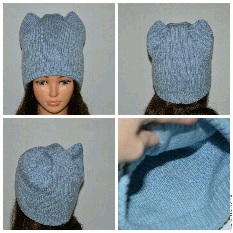 Вязанные теплые двойные шапки спицами 136