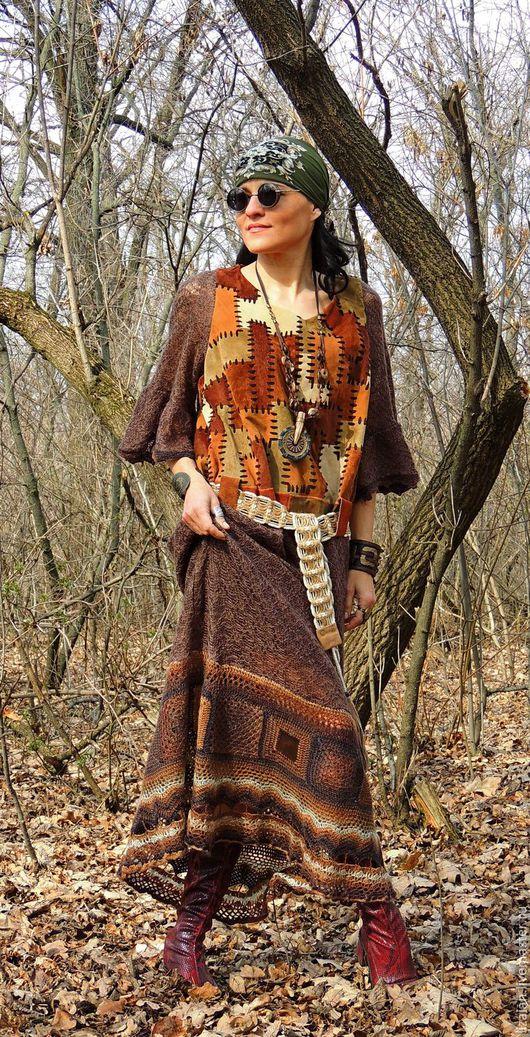 платье макси, бохо, стиль бохо, бохо платье, платье с кожей,платье крючком, платье вязаное