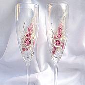 """Свадебный салон ручной работы. Ярмарка Мастеров - ручная работа Свадебные бокалы """"Розовая мечта"""". Handmade."""