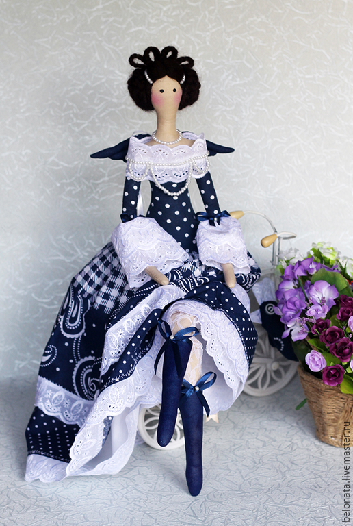 Куклы Тильды ручной работы. Ярмарка Мастеров - ручная работа. Купить Фея с маленькой Синей Птичкой. Handmade. Тёмно-синий