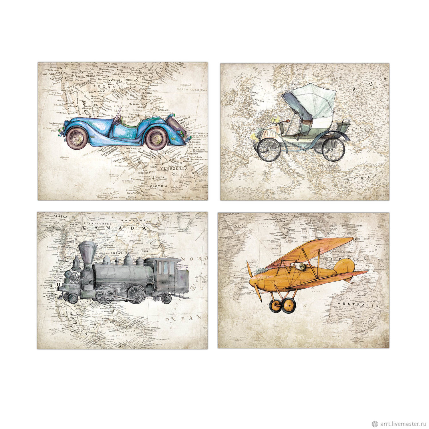Vintage train plane car Vintage world map Posters 4 PCs – shop ...