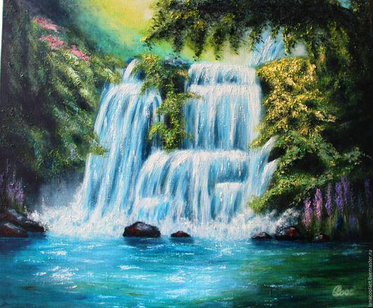 Пейзаж ручной работы. Ярмарка Мастеров - ручная работа. Купить Картина маслом. Водопад.  Холст 50х60. Handmade. Зеленый, зелень