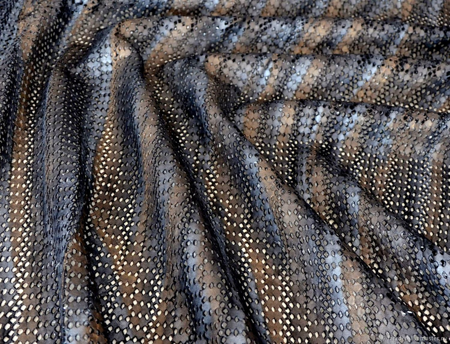 Natural perforated leather Bronze-silver 1 mm, Leather, Ankara,  Фото №1