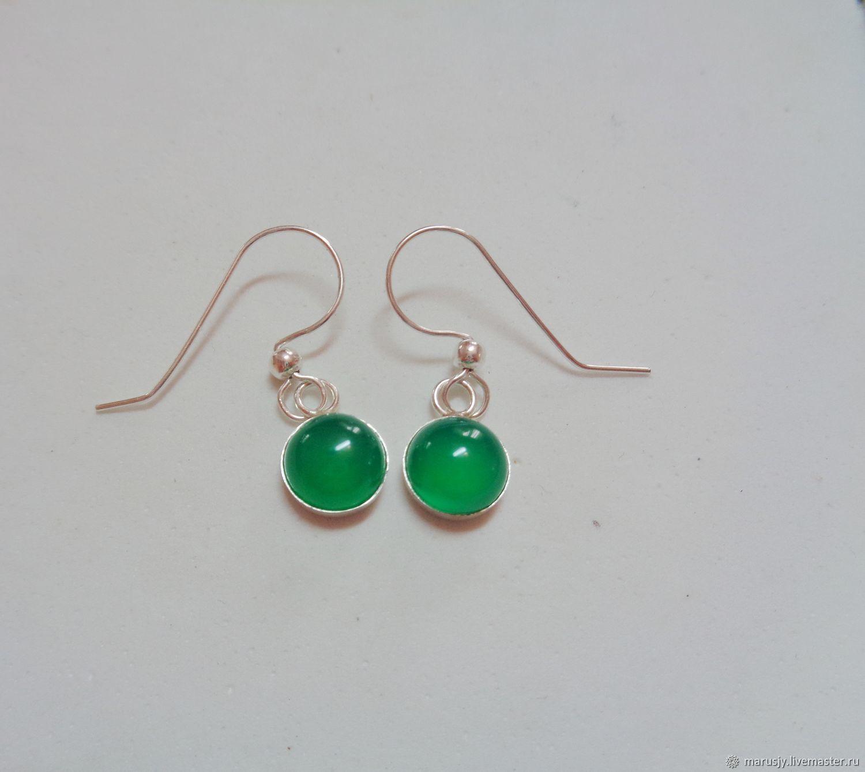 Hook earrings, 925 silver with green chalcedony, Earrings, Sergiev Posad,  Фото №1