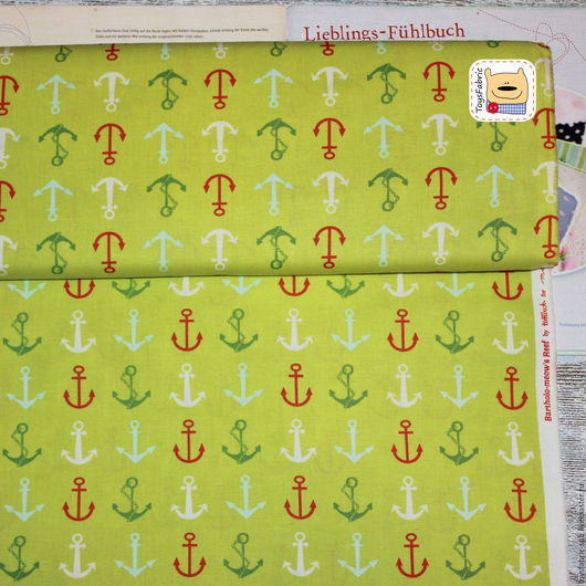 Шитье ручной работы. Ярмарка Мастеров - ручная работа. Купить Ткань для пэчворка Якоря на салатовом (20536) американский хлопок. Handmade.