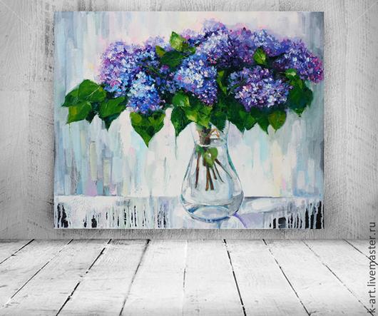 Картины цветов ручной работы. Ярмарка Мастеров - ручная работа. Купить Сирень в прозрачной вазе. Handmade. Сиреневый, серый, спальня