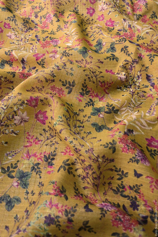 The -30% markdown! Cotton-silk 'Plants on mustard', Fabric, Taganrog,  Фото №1