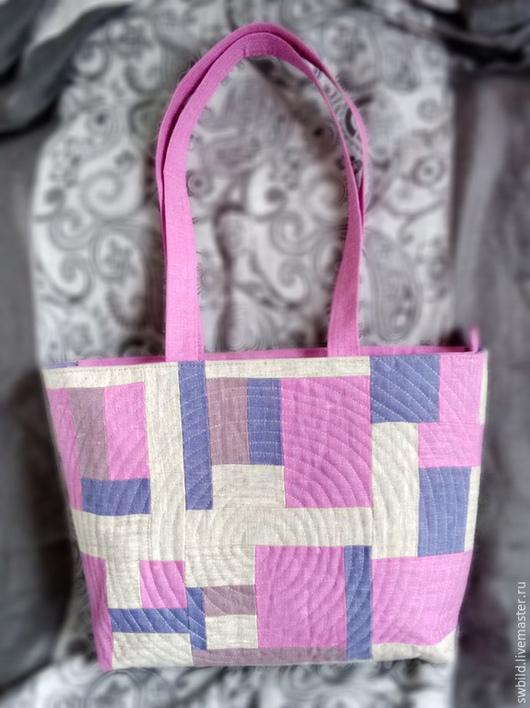 Женские сумки ручной работы. Ярмарка Мастеров - ручная работа. Купить Сумка лоскутная льняная. Handmade. Розовый, сумка, сиреневый