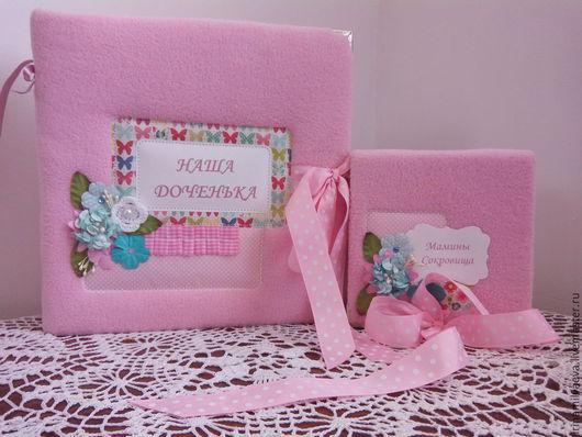 Фотоальбомы ручной работы. Ярмарка Мастеров - ручная работа. Купить Набор для девочки. Handmade. Розовый, Скрапбумага