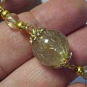 Комплекты украшений ручной работы. Ярмарка Мастеров - ручная работа комплект - золотистый рутиловый кварц. Handmade.