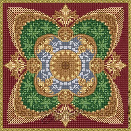 Вышивка ручной работы. Ярмарка Мастеров - ручная работа. Купить Старинный пуф (подушка). Handmade. Комбинированный, схема для вышивки