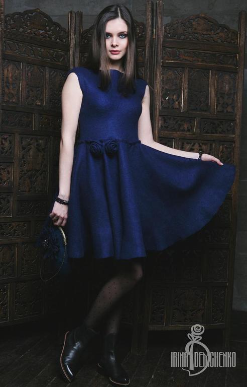 Платья ручной работы. Ярмарка Мастеров - ручная работа. Купить Валяное платье «Evening». Handmade. Street style, город