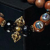 Украшения handmade. Livemaster - original item Men`s Brown Wood and Onyx Bracelet with Vajra. Handmade.
