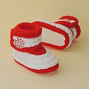 Работы для детей, handmade. Livemaster - original item Boots plush booties knit, baby booties. Handmade.