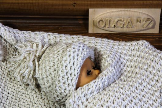 """Для новорожденных, ручной работы. Ярмарка Мастеров - ручная работа. Купить Комплект на выписку """" Бежевые соты"""". Handmade."""