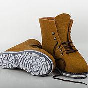"""Обувь ручной работы. Ярмарка Мастеров - ручная работа Ботинки из войлока """"Brown"""". Handmade."""