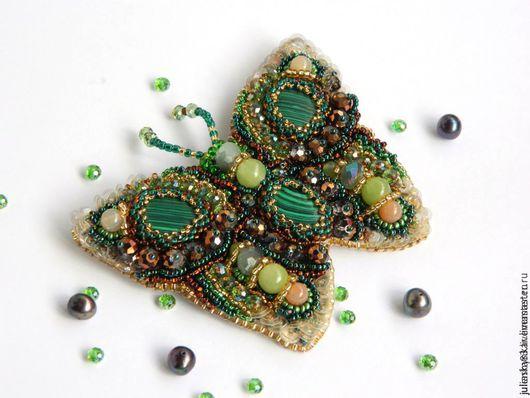 """Броши ручной работы. Ярмарка Мастеров - ручная работа. Купить Брошь-бабочка """"Rendez-Vous"""". Handmade. Тёмно-зелёный"""
