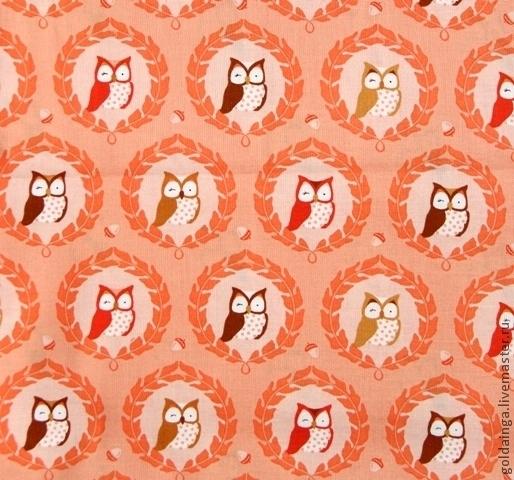 """Шитье ручной работы. Ярмарка Мастеров - ручная работа. Купить №179 американский хлопок """"оранжевые совы"""". Handmade. Ткань"""