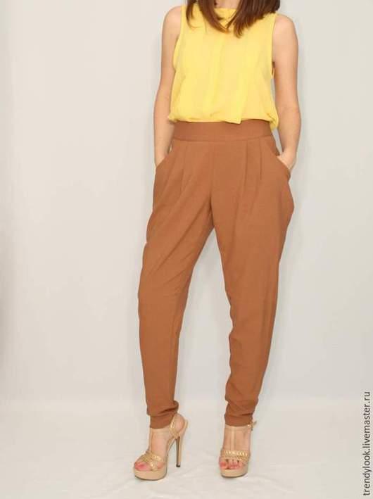 Брюки, шорты ручной работы. Ярмарка Мастеров - ручная работа. Купить РАЗМЕР 44 Коричневые брюки с карманами в гаремном стиле, офисная мода. Handmade.