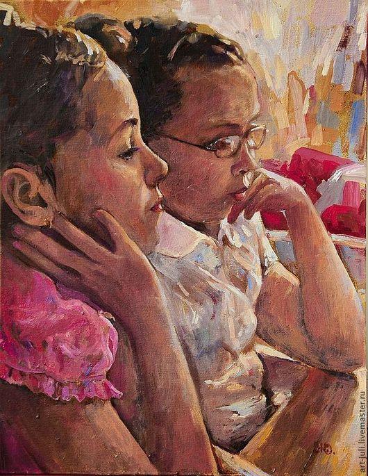 """Люди, ручной работы. Ярмарка Мастеров - ручная работа. Купить портрет маслом """"Девочки за компьютером"""". Handmade."""