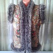 Одежда ручной работы. Ярмарка Мастеров - ручная работа жилет в русском стиле из павлопосадского платка,ручная работа. Handmade.