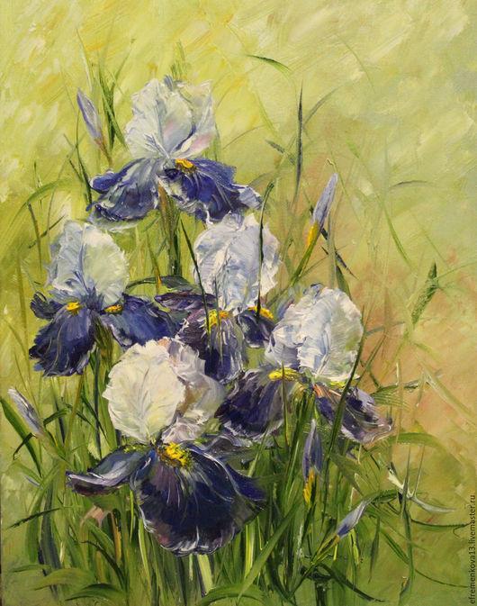 """Картины цветов ручной работы. Ярмарка Мастеров - ручная работа. Купить Картина """"Ириски"""". Handmade. Синий, картина в интерьер, цветы"""