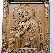 Резная икона из дерева Серафим Саровский
