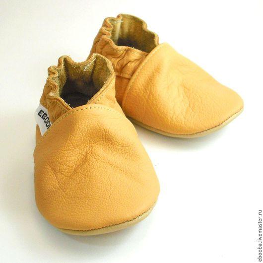 Кожаные чешки тапочки пинетки жёлтые ebooba