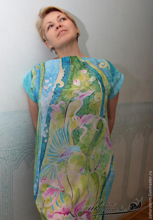 Пляжные платья ручной работы. Ярмарка Мастеров - ручная работа. Купить Пляжное платье-туника, батик. Handmade. Бирюзовый