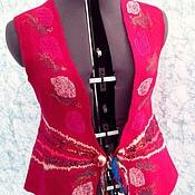 Одежда ручной работы. Ярмарка Мастеров - ручная работа Валяный жилет Малиновка. Большой размер. Handmade.