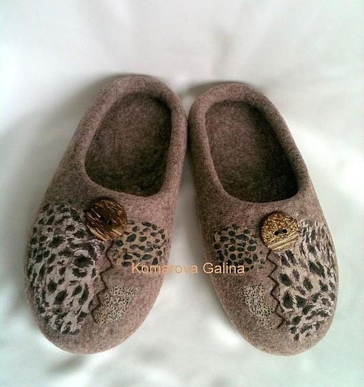 """Обувь ручной работы. Ярмарка Мастеров - ручная работа. Купить мужские валяные тапочки """"Домашние"""". Handmade. Тапочки, войлочные тапки"""