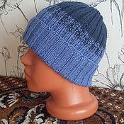 Аксессуары ручной работы. Ярмарка Мастеров - ручная работа шапка с отворотом синий градиент. Handmade.