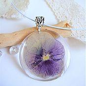 Украшения handmade. Livemaster - original item Transparent Pendant with Real Flower Violet Pansy Botany Eco. Handmade.