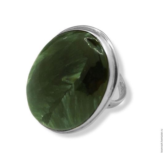 """Кольца ручной работы. Ярмарка Мастеров - ручная работа. Купить Кольцо """"Серафинит"""" с натуральным зелёным камнем серафинитом из серебра. Handmade."""