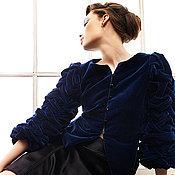 Одежда ручной работы. Ярмарка Мастеров - ручная работа Жакет бархатный тёмно-синий. Handmade.