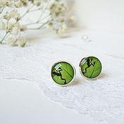 Украшения handmade. Livemaster - original item Earring studs 10 mm (studs) Green Frog on a Leaf. Handmade.