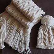 Аксессуары handmade. Livemaster - original item Knitted kit White Iris, knitted hat, scarf, mittens.. Handmade.