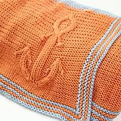 Для дома и интерьера ручной работы. Ярмарка Мастеров - ручная работа Вязаный детский плед-одеяло ручной работы с якорем в морском стиле.. Handmade.