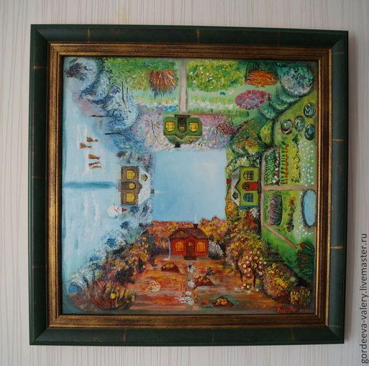 """Пейзаж ручной работы. Ярмарка Мастеров - ручная работа. Купить Картина маслом """"Калейдоскоп"""". Handmade. Времена года, домик, цветы"""