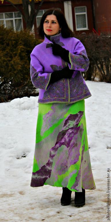 """Юбки ручной работы. Ярмарка Мастеров - ручная работа. Купить Авторская юбка """"Chartreuse and violet"""".. Handmade. Ярко-зелёный"""
