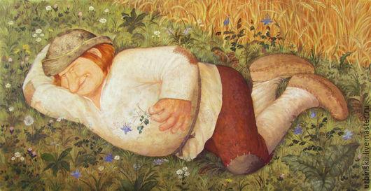 Люди, ручной работы. Ярмарка Мастеров - ручная работа. Купить Спящий крестьянин. Handmade. Коричневый, юмор, деревня, цветы, шляпа