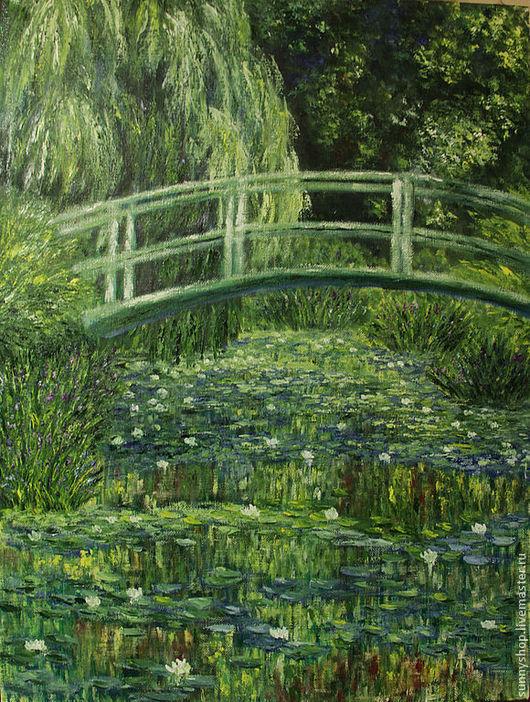 картина масло пейзаж копия Моне пруд с кувшинками интерьерная живопись картины на заказ репродукция Моне подарок для девушки женщины зеленый