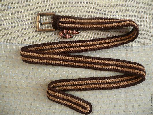 Пояса, ремни ручной работы. Ярмарка Мастеров - ручная работа. Купить Ремень вязаный коричнево-бежевый 2-х рядный. Handmade.