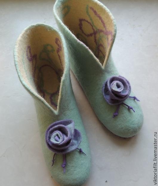 """Обувь ручной работы. Ярмарка Мастеров - ручная работа. Купить Валяные тапочки женские """"Мятное настроение"""". Handmade. Мятный"""
