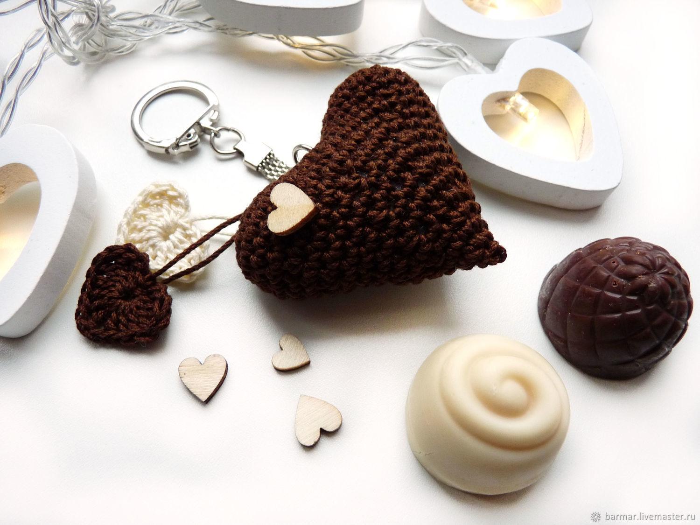 Keychain 5 cm Knitted heart Dark chocolate, Key chain, Moscow,  Фото №1